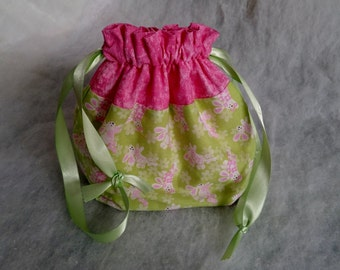 Little Girl Easter Purse/ Children's Drawstring Bag/ Little Girl Spring Purse/ Easter Bunny Purse