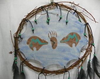 Tribal Bear Vine Mandala Hand Painted Native American Made