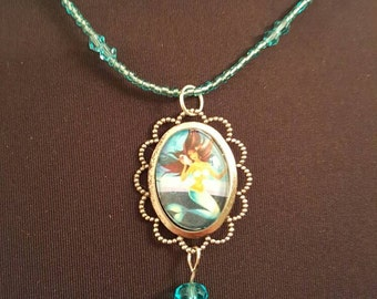 Mermaid glass cameo necklace