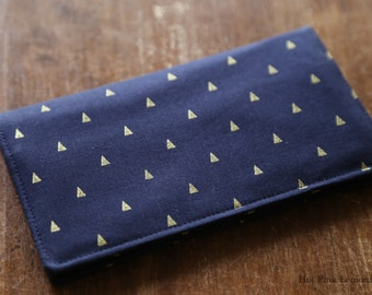 Checkbook Cover Navy Golden Triangles Fabric