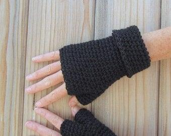 men's fingerless gloves/ simply black wool n' hemp cuff crochet