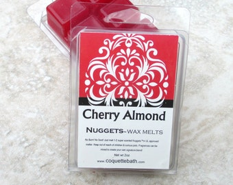 Cherry Almond scented Wax Melts, strong wax tarts, rich dark cherry mingled with almond, red wax, best scented wax