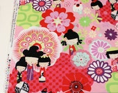 KAORI KOKESHI Pink & Red Indochine Kitty Doll Quilt Fabric by the yard, Out of Print, Alexander Henry Asian Cotton Fabric