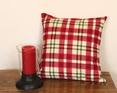 Plaid Pillow Covers - 16 inch Red and Green Plaid Holiday Throw Pillow, Decorative Pillow, Christmas Pillows