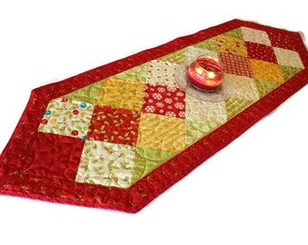 Christmas Quilted Table Runner, Red, Gold, Ivory, Green, Holiday Table Runner Quilt, Charm Quilt
