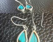 Real Butterfly Wing Jewelry Sterling Silver hook earrings  Papilio Ulysses SML Drops xXON SALEXx