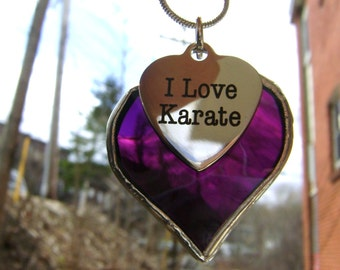 Karate Christmas Stained Glass Necklace Jewelry SALE Bruce Lee 2020 Olympic Games Tokyo Martial Arts Heart Purple Canadian Original Design©