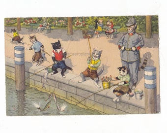 Vintage Max Kunzli Anthropomorphic Naughty Cats Fishing  Illustrated Postcard Card 1950's