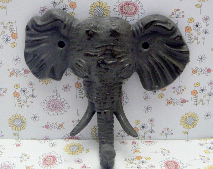 Elephant Cast Iron Tusk Wall Hook Shabby Chic Gray Grey Home Decor
