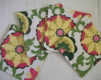 Fabric Coaster Set of 4 Mod Floral Coasters