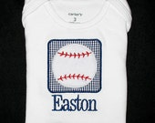 Custom Personalized Applique Minky BASEBALL PATCH and Name Shirt or Bodysuit - Yankees Colors - Navy Blue Mini Gingham