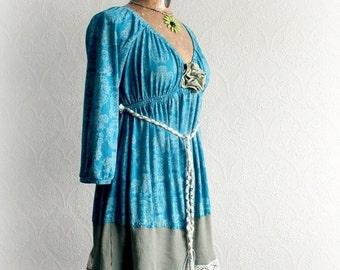 Teal Romantic Top Bohemian Tunic Dress Stevie Nicks Clothing Empire Waist Shirt Chic Shabby Clothes Upcycle Fashion Women Boho Top M 'IZZY'