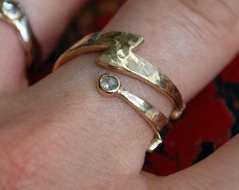Gold Diamond Lightning Bolt  Wrap Ring
