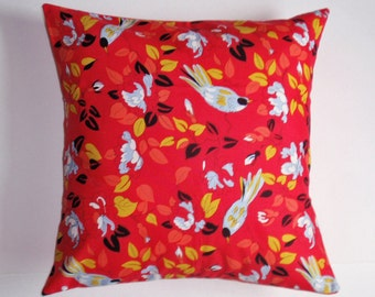 SUMMER SALE - Throw Pillow Cover, Marcelinne Bird Throw Pillow Cover, Pretty Red Floral Bird Cushion Cover, Spring Bird Accent Pillow Cover