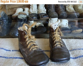 BIG SALE Antique Old  Edwardian Gorgeous High Walker Leather Boots for Small Child