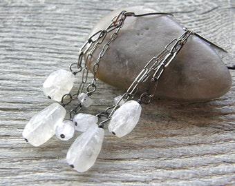 Ice Storm Moonstone Earrings, White Dangle Earrings, Sterling Silver Drop Earrings, Bridal Boho Earrings