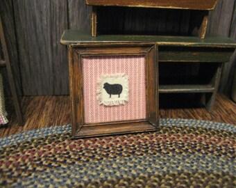 Miniature SHEEP Shabby Cloth Dollhouse Picture