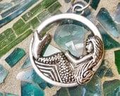 Mermaid Silver Charm Pendant,Beach Sea Charm