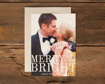 Custom Holiday Photo Cards - Personalized Christmas Card - Merry and Bright White