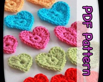 Hearts Appliqué - A PDF Crochet Pattern - Instant Digital Download - CHART - Crochet Appliqué - Love Hearts - 3 Sizes - EssHaych