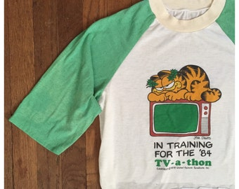 VINTAGE 80s GARFIELD raglan t shirt tv cartoon Jim David crop top