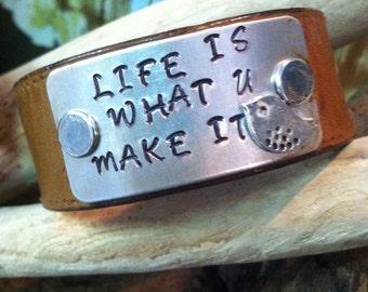 Leather Bracelet, Personalized Genuine Leather Bracelet, Leather Stamped Bracelet, Custom Bracelet, Stamped Leather Bracelet,Stamped Jewelry