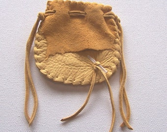 Beautiful Deerskin Medicine Bag ..Hand Pouch....GOLD