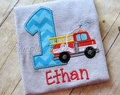 Custom fire truck birthday shirt. Personalized. Sizes 12m to boy's medium. Other colors and sizes available.