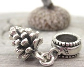 Pinecone Charm Sterling Silver Pine Cone European Bracelet Bead Fir Cone Dangle