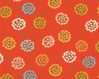 SALE Tangerine Orange Flower Wrens and Friends Fabric - Moda - Gina Martin