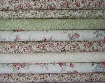 Cream Pink Rose Emma 2 Half Yard Fabric Bundle - Robert Kaufman
