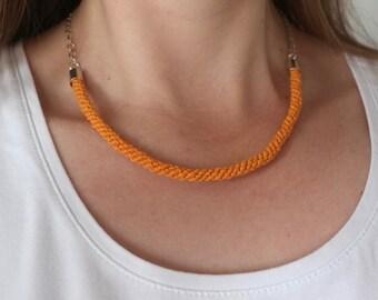 FREE SHIPPING -- Mustard yellow woven hemp statement necklace