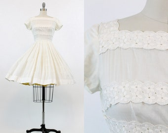 50s Dress Cotton Embroidered XS / 1950s Vintage Lace Dress / In Full Bloom Dress