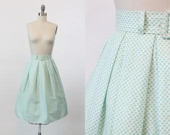 50s Skirt XS / 1950s Vintage Skirt Geometric Cotton / Tunnel des Tuileries Skirt