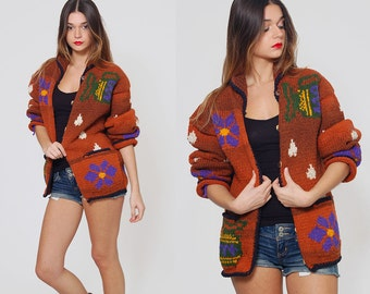 Vintage 80s FLORAL Chunky Sweater Rust Oversized Cardigan Wool Sweater Boho Hippie Sweater EMBROIDERED Jumper Ethnic Cardigan
