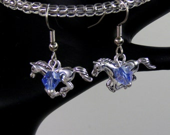 Personalized GALLOPING HORSE Earrings- Birthstone Earrings-Choose Silver or Hypoallergenic Ear Wires