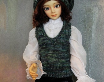 SD BJD sweater vest and beret Lucky