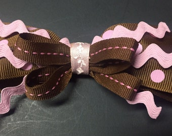 MamaBear Boutique Hair Bow Clip Accessory - Pink & Brown