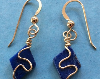Lapis Lazuli Beaded Earrings with 14k Gold Filled Wire Squiggle and French Hooks