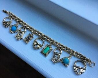 Vintage Victorian Style Heart Padlock Charm Bracelet