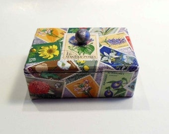 Tiny Treasure Box decorated with Flower Postage Stamps