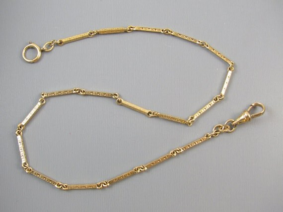 Vintage Art Deco gold filled bar link pocket watch chain signed Binder Brothers j304