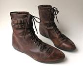 80s vintage Mottled Dark Brown Leather Ankle Boots / Clicks / made in Brazil