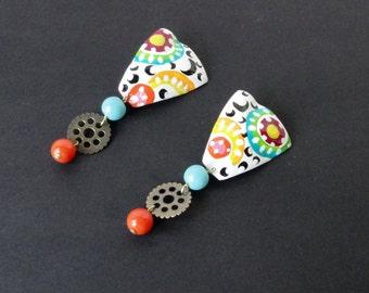Brass Enameled Clip on Earrings