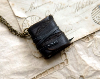 Wrapture - Miniature Wearable Book, Black Leather, Blue Stained Pages, OOAK