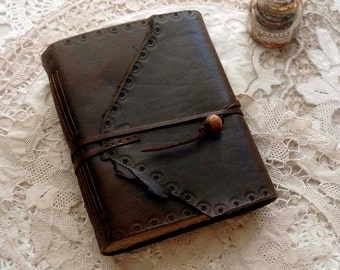 Meditations - Dark Brown Leather Journal, Tea-Stained Pages - OOAK