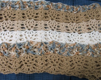 Lacy shades of beige afghan