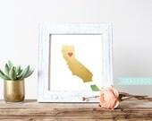 State Print, Custom Print, Personalized State Print, Printable, Gold Foil, Gold Foil State Print, California, New York, Idaho, Texas