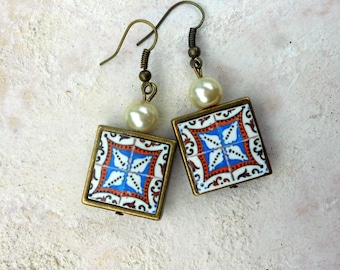 Antique Azulejo Tile FRAMED Earrings from ARADA Portugal - Brown Blue (see photo of actual Facade)  Waterproof - reversible 264 F