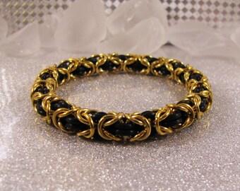 New Years Eve Black & Gold Byzantine Bracelet
